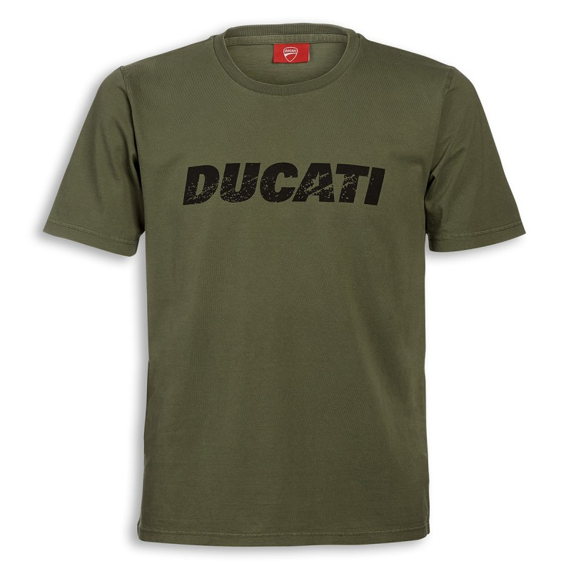 t shirt ducati vintage logo kaki s team motos. Black Bedroom Furniture Sets. Home Design Ideas