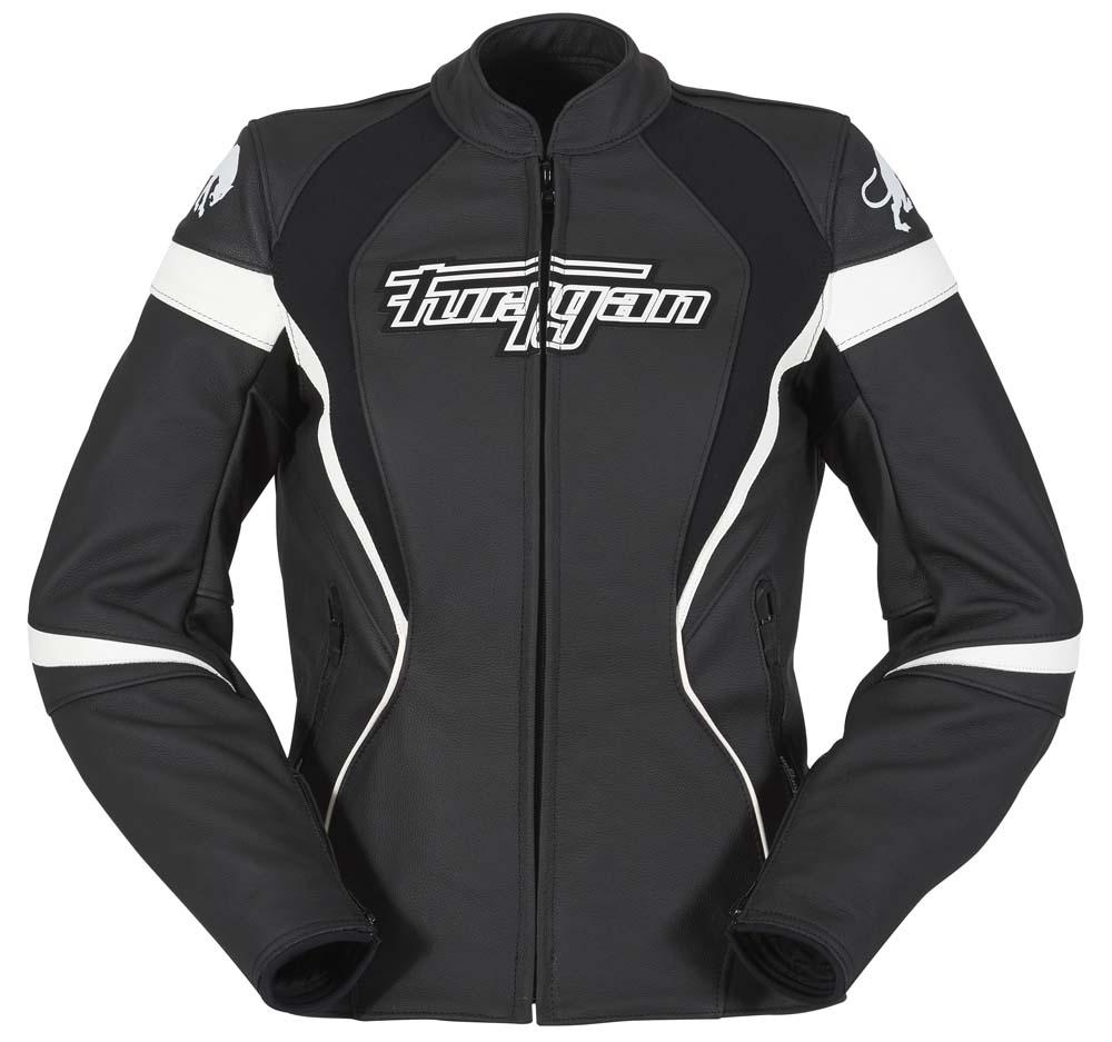 blouson moto cuir furygan xenia racing lady femme noir blanc face s team motos. Black Bedroom Furniture Sets. Home Design Ideas
