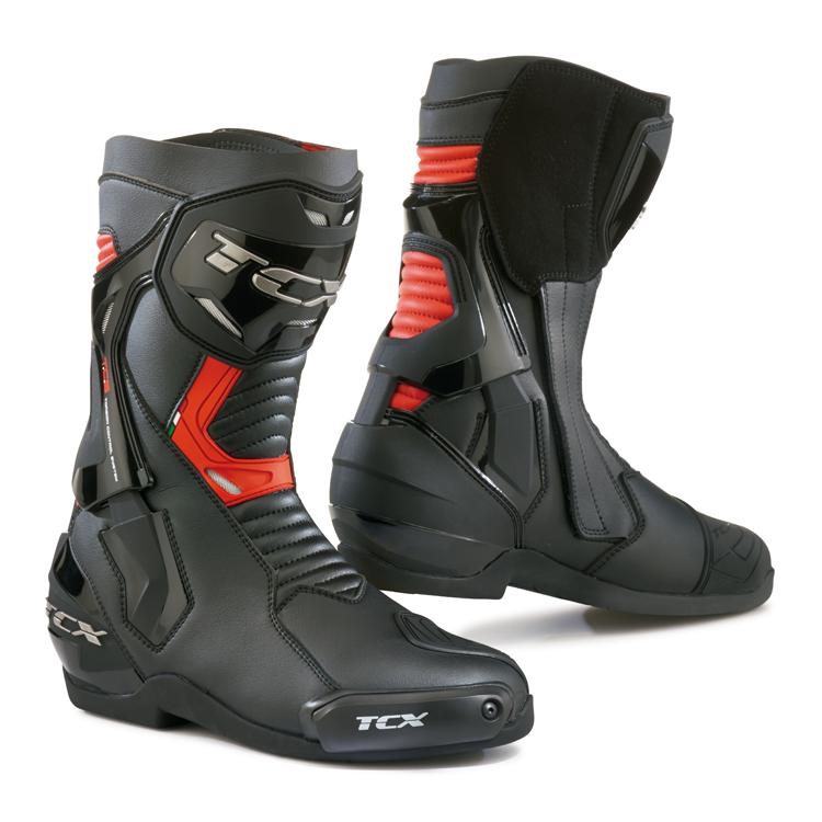 bottes racing tcx st fighter noir rouge s team motos. Black Bedroom Furniture Sets. Home Design Ideas